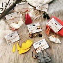 17 км 30 сережки с кисточками Boho Длинные серьги в богемном стиле набор для женщин Brincos Геометрическая ткань серьги-капли женские модные ювелирные изделия