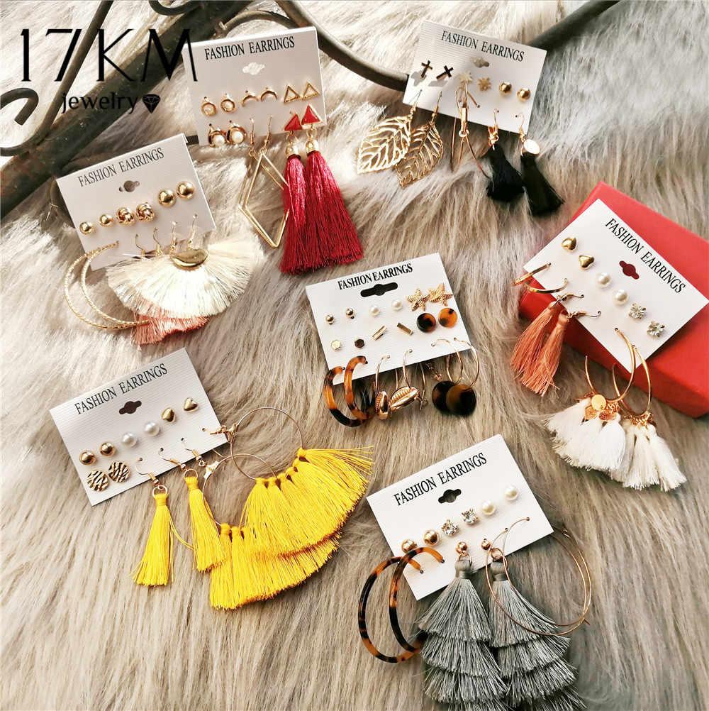 30 Новая богемная Кисточка Серьги Длинный Комплект сережек для женщин Boho Brincos Геометрическая Ткань висячие серьги женские модные ювелирные изделия