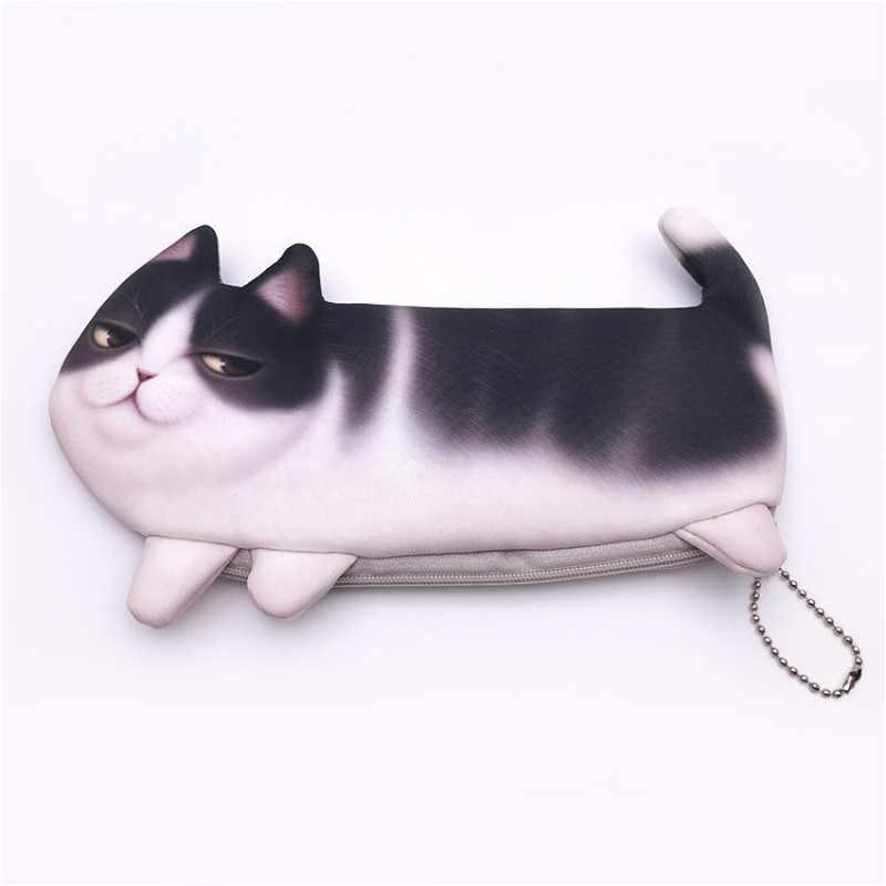 1 Uds. Big Cat Pen Bag títeres lindo Animal de dibujos animados biológico dedo juguetes de peluche para niños Baby Favor muñecas cuenta historia accesorios niños