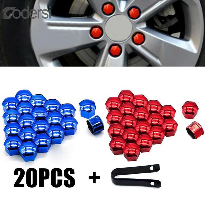 X AUTOHAUX 20pcs 21mm Blue Plastic Car Wheel Nut Lug Hub Covers Dust Caps