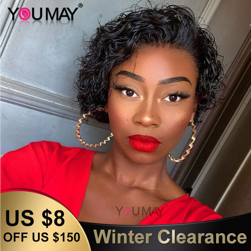 Curly Short Bob Lace Front Wigs For Women 150% 13X6 Brazilian Lace Front Human Hair Wigs Pre Plucked Fake Scalp Wig You May Remy
