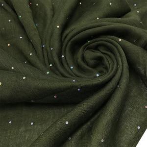 Image 3 - Thời Trang Viscose Hijabs Khăn Choàng Nữ Thanh Lịch Đầu Đồng Bằng Lấp Lánh Kim Sa Lấp Lánh Hồi Giáo Hijab Nữ Cotton Hồi Giáo Khăn Mềm Hút 1 PC