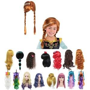 Девушки Анна парик Эльзы платье коса Русалка Принцесса Необычные головные уборы под макияж Дети Хэллоуин вечерние украшения для волос
