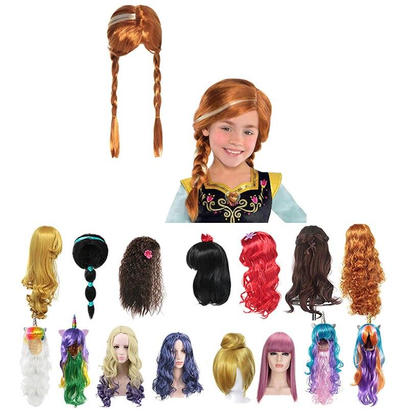 Meninas anna elsa peruca fantasiar-se trança sereia princesa fantasia maquiagem headwear crianças festa de halloween cosplay decoração do cabelo