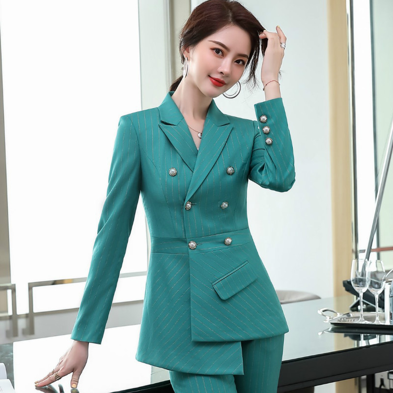 Plus size women's high-quality professional women's pants suit two-piece Autumn pearl double breasted ladies jacket Slim pants
