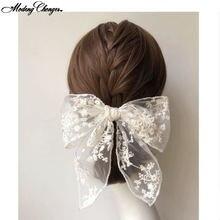 Женская повязка на голову с кружевом и цветочным бантом