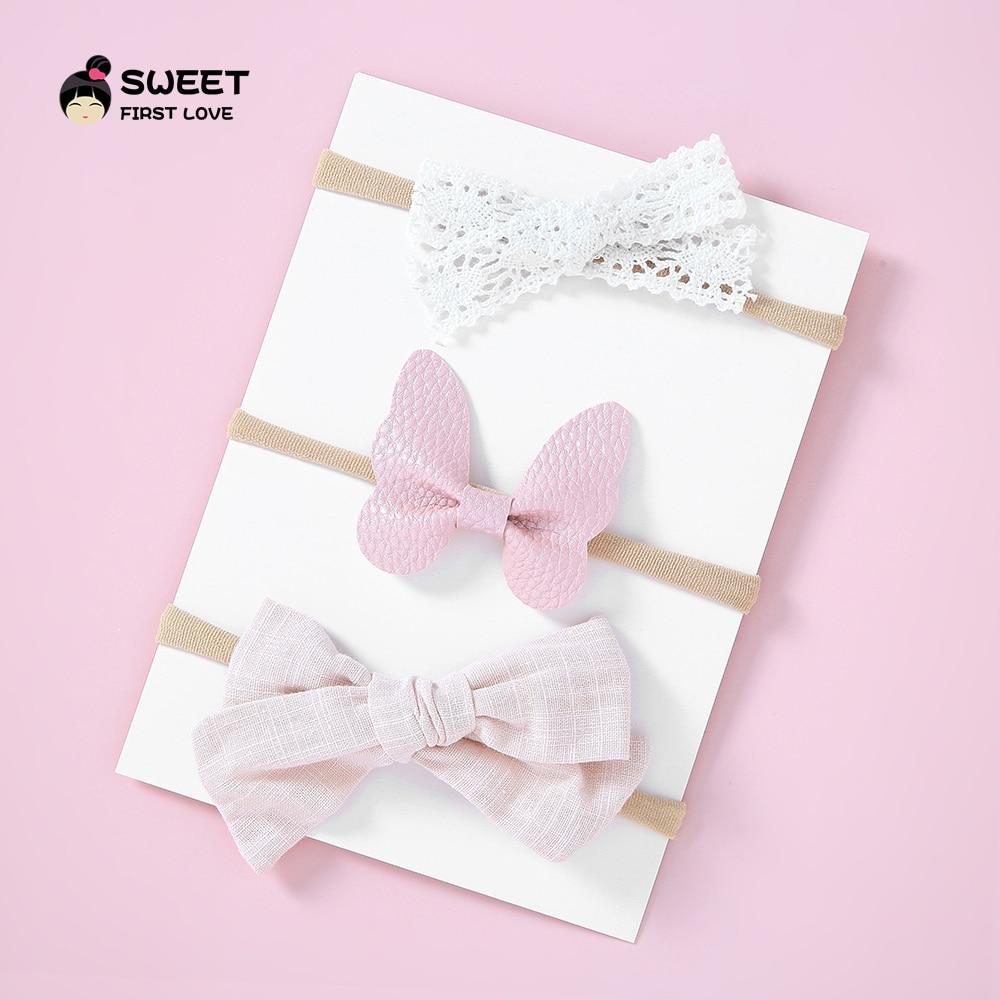 3PCS/set Baby Girls Nylon Soft Headbands Bow Knot Hair Kids Toddlers Elastic Head Wear Hair Band Infant Hair Accessories