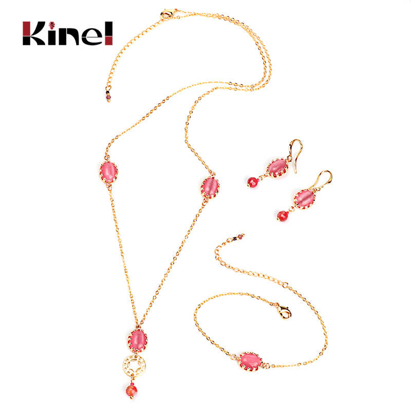 Kinel Luxury Bridal Jewelry Set Fashion Gold Pink Opal Pendant Necklace And Earrings Bracelet For Women Boho Jewelry Wholesale