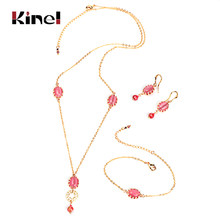 Kinel Luxury Bridal Jewelry Set Fashion Gold Pink Opal Pendant Necklace And Earrings Bracelet For Women Boho Jewelry Wholesale(China)