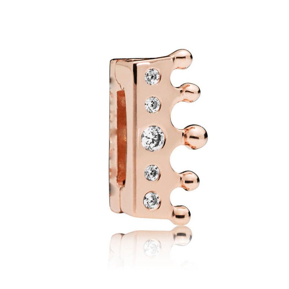 FEOLEO натуральная 925 пробы Серебряная скобка, очаровательные, подходят к оригиналу Pandora браслетов reflexions для Для женщин розового золота Цвет ювелирные изделия - Окраска металла: PAX011-C