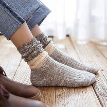 1 Pair Women Socks New Autumn Winter Japanese Fashion Harajuku Colorful Striped Medias Cotton Long Cartoon Character Funny Socks