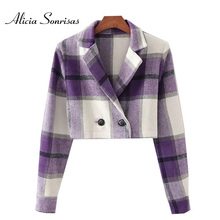 Casual Fashion Plaid Short Blazers Women New Autumn Winter Slim Double Breasted Jacket Female Long S