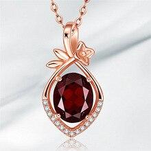 Luxury Female Red Crystal Pendant Necklace Trendy Rose Gold Chain Necklaces For Women Elegant Bridal Oval Wedding Necklace stylish rhinestoned fake crystal oval necklace for women