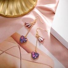 Корейская модная с кристаллами и жемчугом висячие серьги женские