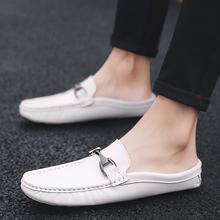 Skórzane kapcie kapcie domowe męskie kapcie na zewnątrz moda wiosna nowe klasyczne buty człowiek poślizgu na kapcie z prawdziwej skóry skórzane kapcie tanie tanio WOSHI Poza Skóra bydlęca RUBBER Mieszkanie (≤1cm) Pasuje prawda na wymiar weź swój normalny rozmiar Slajdy Szycia