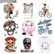 ZOTOONE Big Size Skull Patches Fashion Girls Stickers Iron on for Clothing Iron-on Transfers Washable A