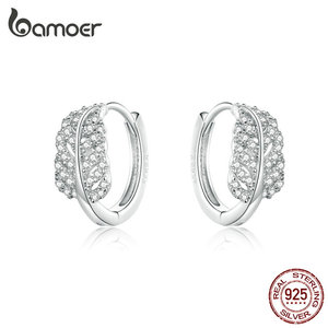 Image 2 - bamoer Sterling Silver 925 Jewelry Sets Leaf Open Finger Rings and Hoop Earrings for Women Female 2019 New Bijoux ZHS174