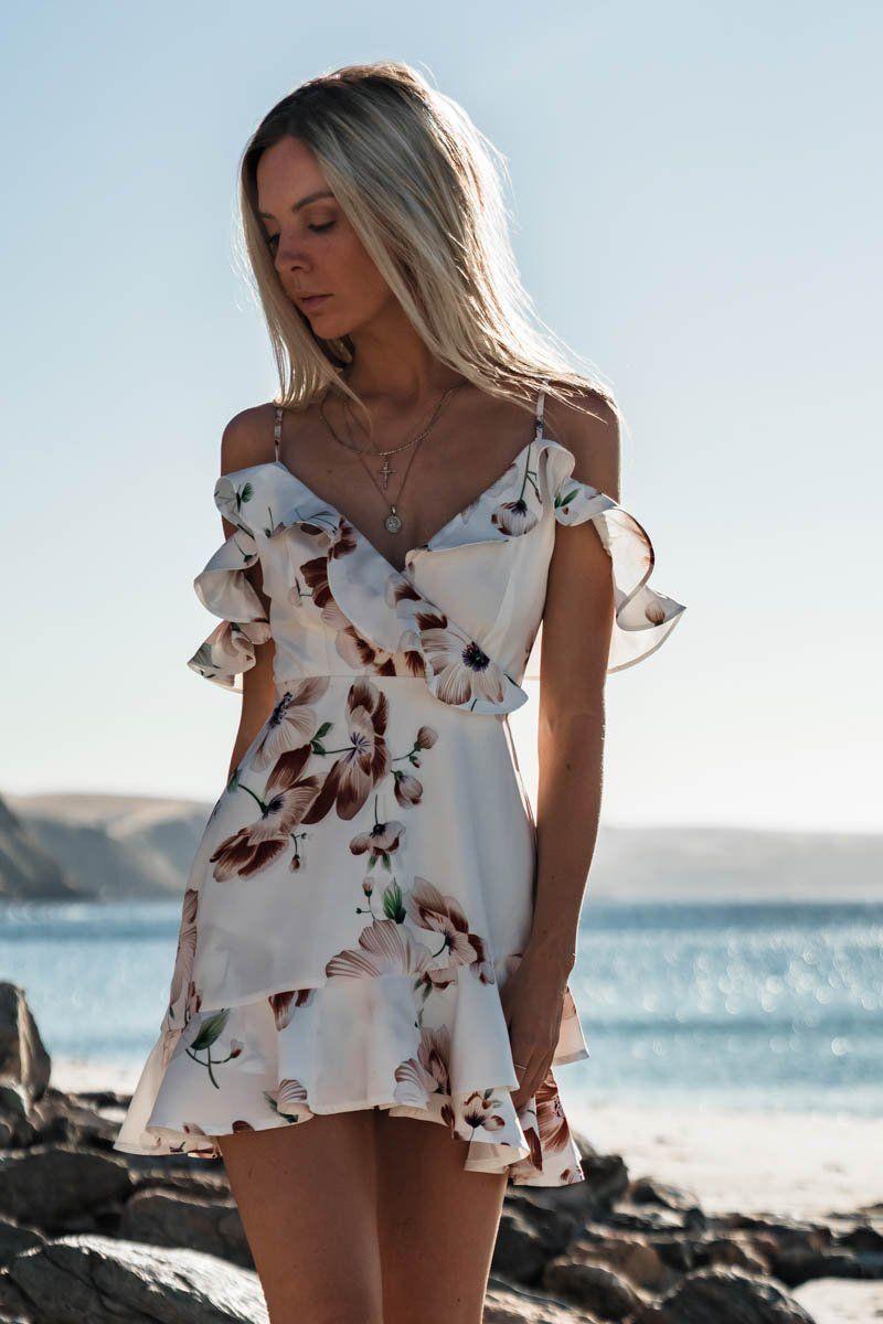 Boho Women Floral Dress Chiffon Summer Party Evening Beach Mini Dress Sexy Women Clothes Off Shoulder Sundress