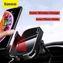Baseus de aire de coche soporte de teléfono para rejilla de aire acondicionado inteligente de teléfono de coche 10W cargador inalámbrico de montaje rápido de carga para iPhone 12 11 Pro