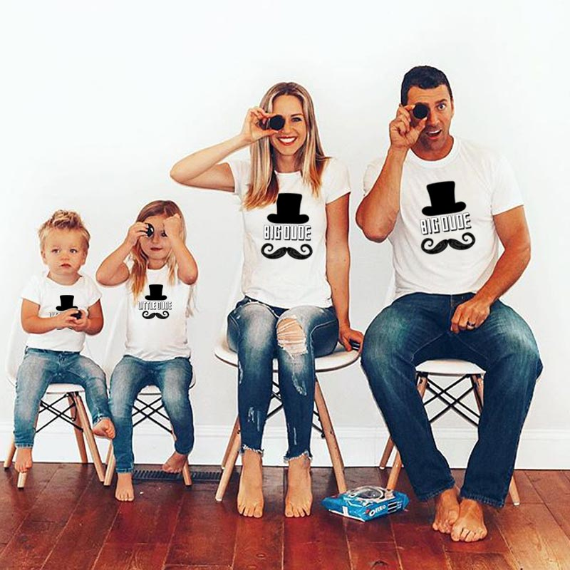 Big Little OUOE Family Look Matching Outfits Cotton Funny Print T Shirt Dad Mom Baby Girl Boy Kids Set