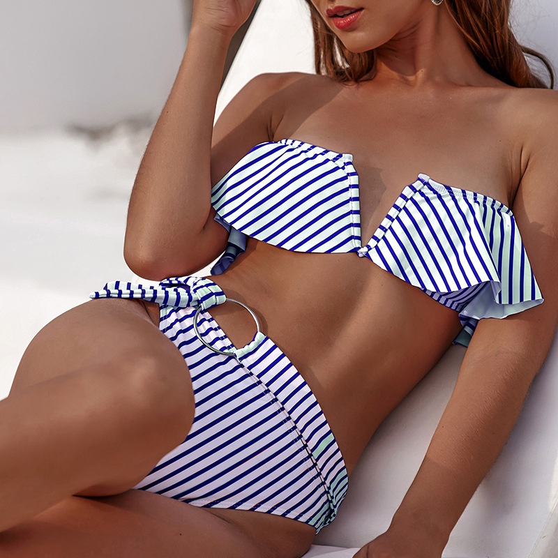 Strapless Bikini Set Swimwear High Waist Bikini Sexy Women Swimsuit Striped Biquini Feminino Bandeau Bikinis Female Beachwear