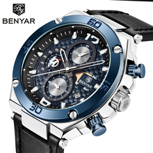 цены BENYAR Fashion Men Watch Top Brand Luxury Chronograph Waterproof Sport Men's Watches Leather Automatic Date Military Wristwatch