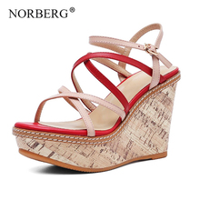 NORBERG new fashion women  wedge sandals summer shoes paragraph thick bottom with leather casual