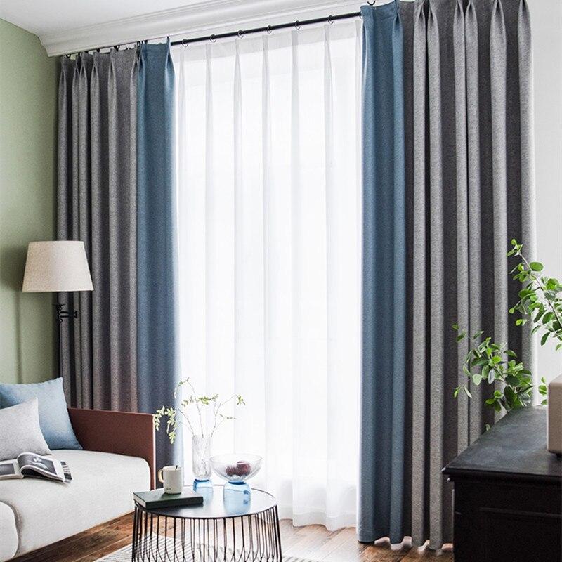 nouveaute double face coton lin rideau occultant complet pour chambre salon tissu d isolation thermique et acoustique