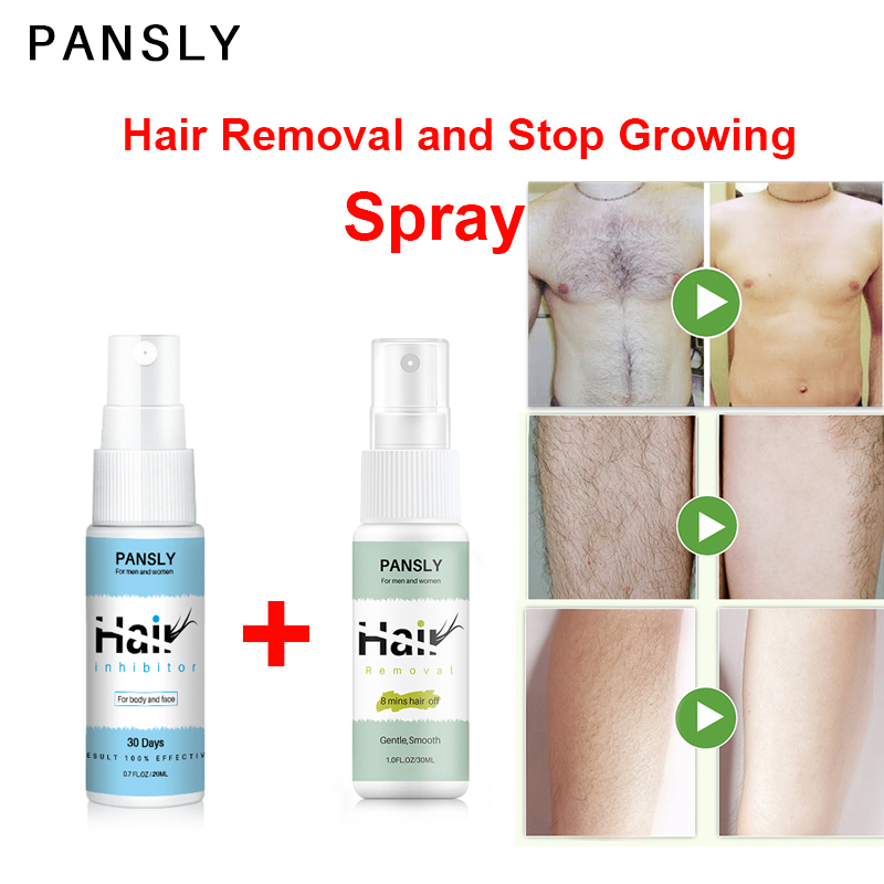Pansly Hair Remover And Growth Inhibitor Facial  Removal Cream Spray Beard Bikini Intimate FaceBody Armpit Painless