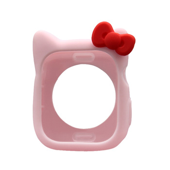 Silicone cover for Apple Watch case 5 4 44mm 40mm Cartoon Hello Kitty watch case for iWatch 3 2 1 38mm 42mm protector shell 3