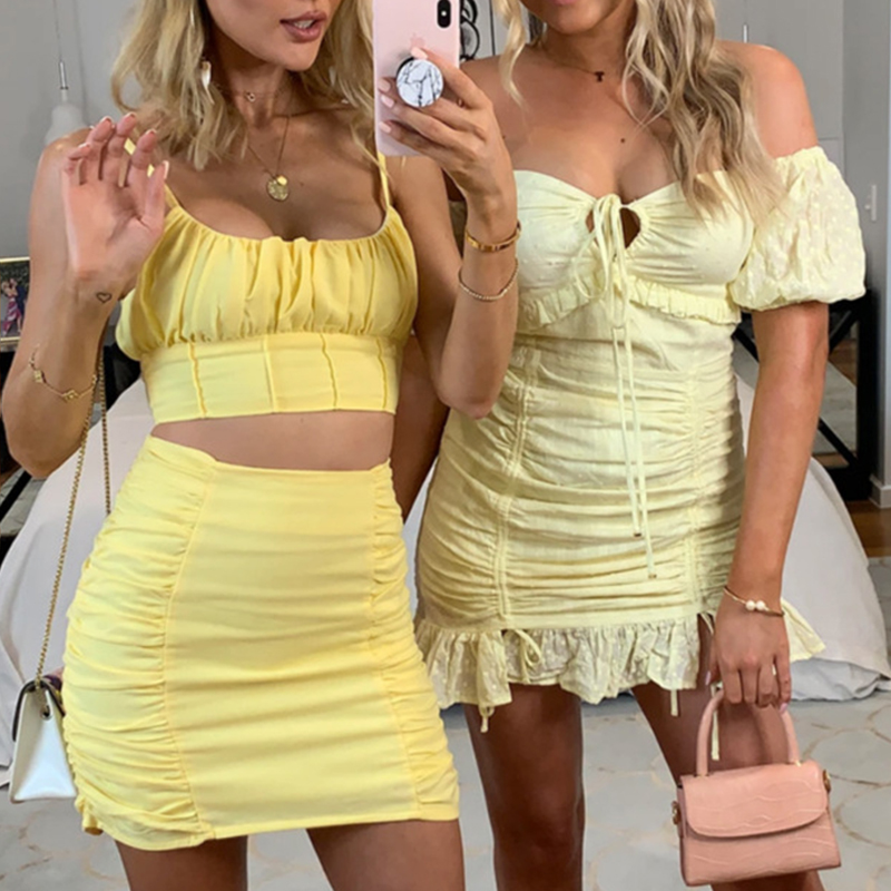 Foridol Cotton Two Pieces Women Dress Suits Strap Ruched Crop Top Bodycon Mini Skirt Yellow 2 Pieces Set Outfits For Women Dress