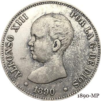 Escudo de Armas español Coronado, 5 Pesetas de 1890 MP, Retrato del...
