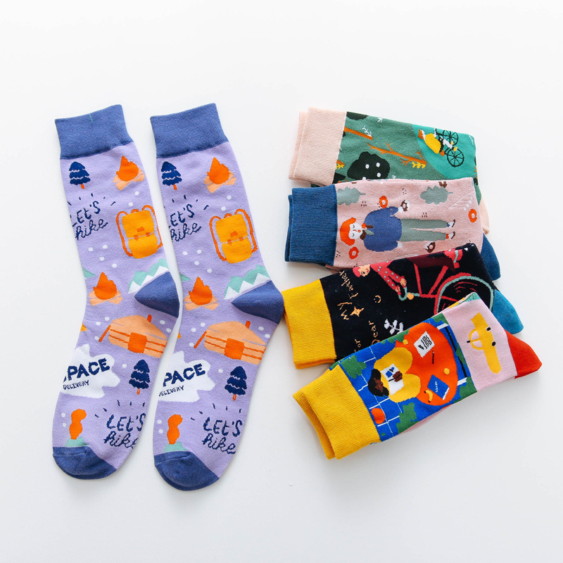 New Trend Socks Cotton Personality Graffiti Unisex Socks Cartoon Printing Creative Crew Unisex Casual Breathable Motion Socks
