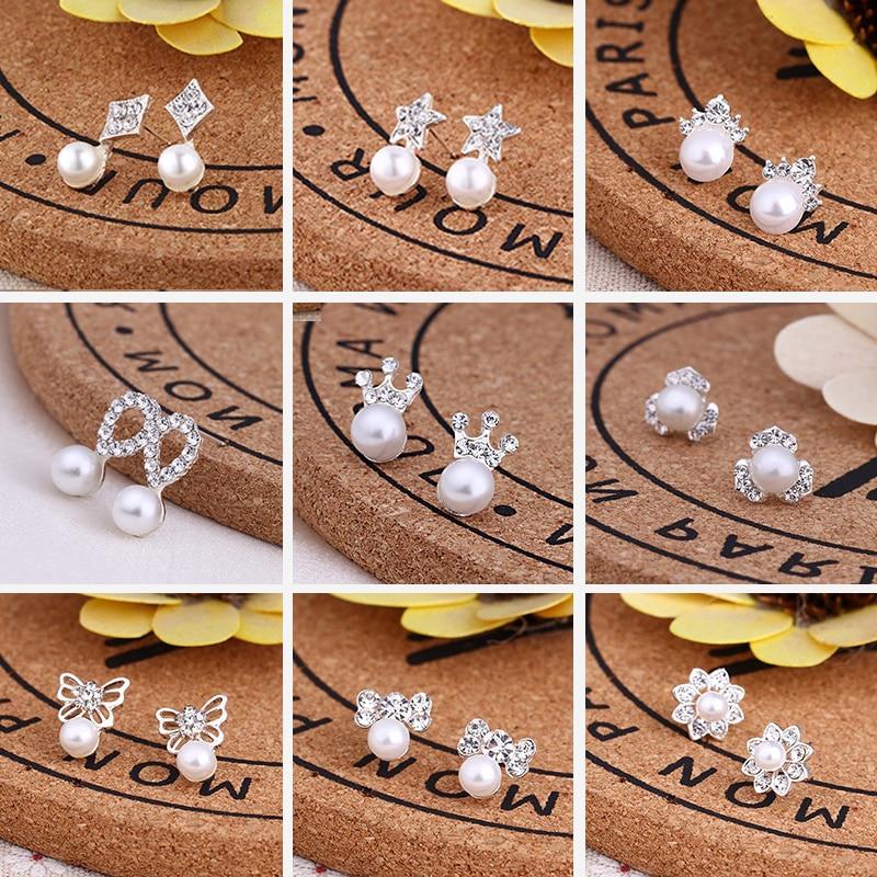 Women Cute Crystal Heart Stud Pearl Earrings For Women Wear Fashion Jewelry Wedding Accessories Pendientes Mujer Small Earrings