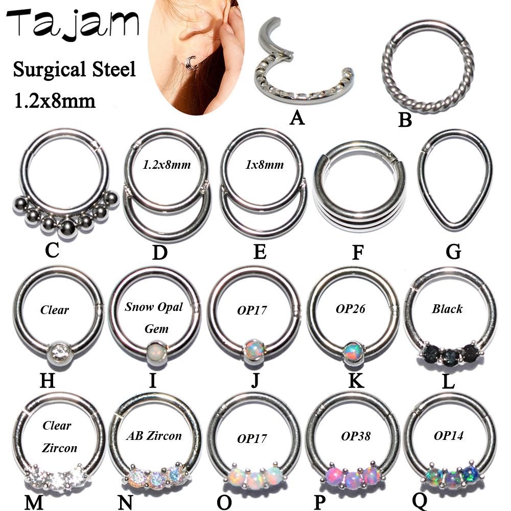 1PC Surgical Steel Hinged Septum Clicker Segment Nose Ring Lip Ear Cartilage Daith Body Piercing Unisex Jewelry 16g
