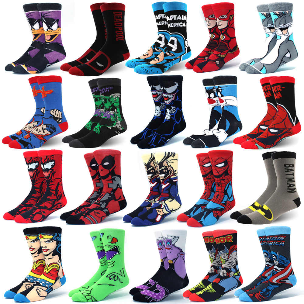 Avengers Marvel Calzini Del Fumetto Batman Superman Joker Cosplay di Modo Calzino Divertente Della Novità Casual Uomini Sockautumn E in Inverno I Calzini