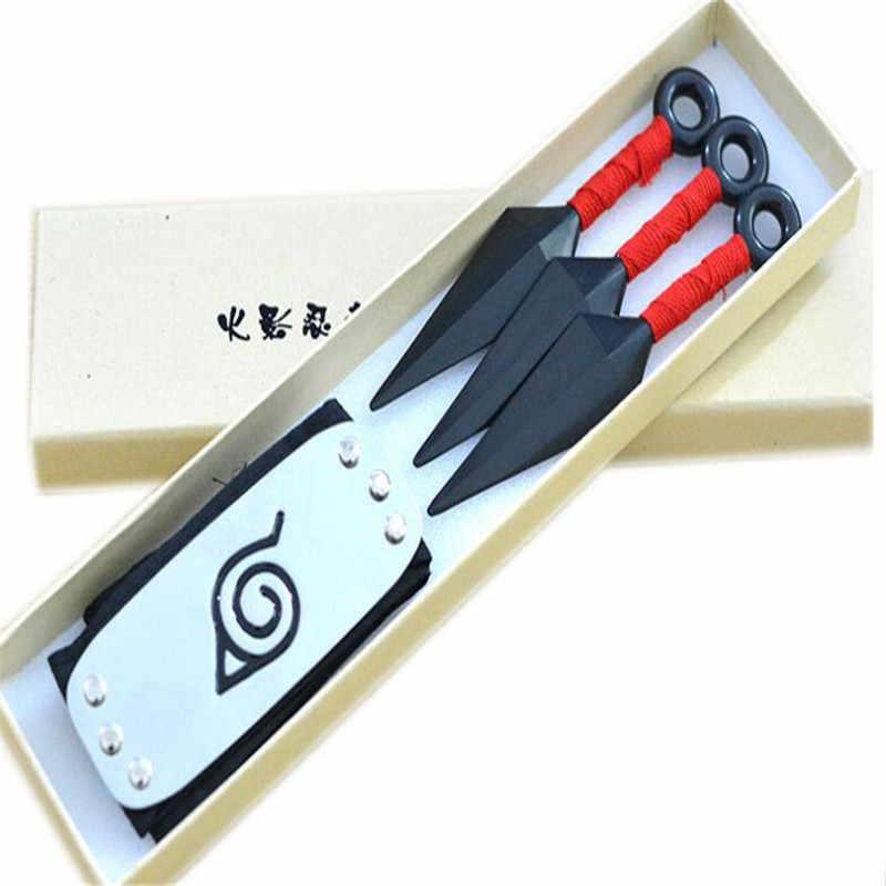 อะนิเมะ Naruto Leaf Village Ninja Kunai & Headband Cosplay Props เด็กอาวุธของเล่นชุดเครื่องประดับอุปกรณ์เสริม