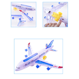 Image 5 - DIY Assembly Airbus Aircraft Autopilot Flash Sound Aircraft Music Lighting Toys Electric Airplane DIY Toy for Children Kids Gif
