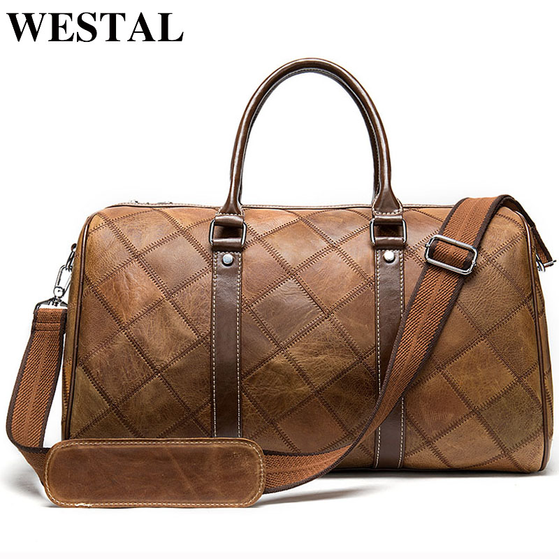 WESTAL Men's Luggage Travel Bags Genuine Leather Duffle Bag Suitcase and Travel Tote Carry on Luggage Bags Big/Weekend Bags 8883