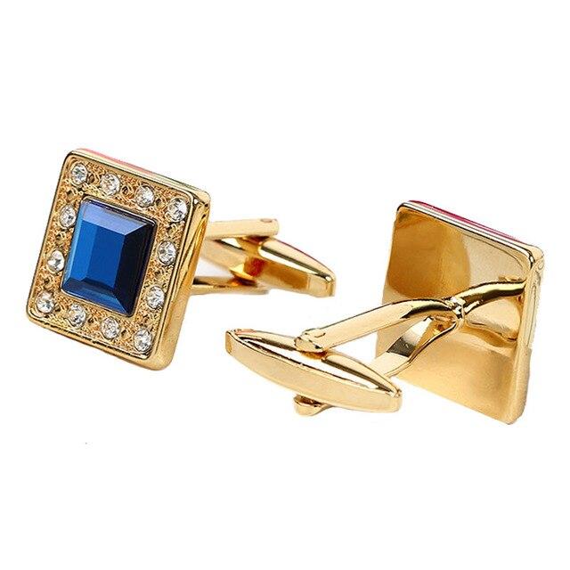 Metal Blue Crystal  Classic  Luxury Cufflinks 5