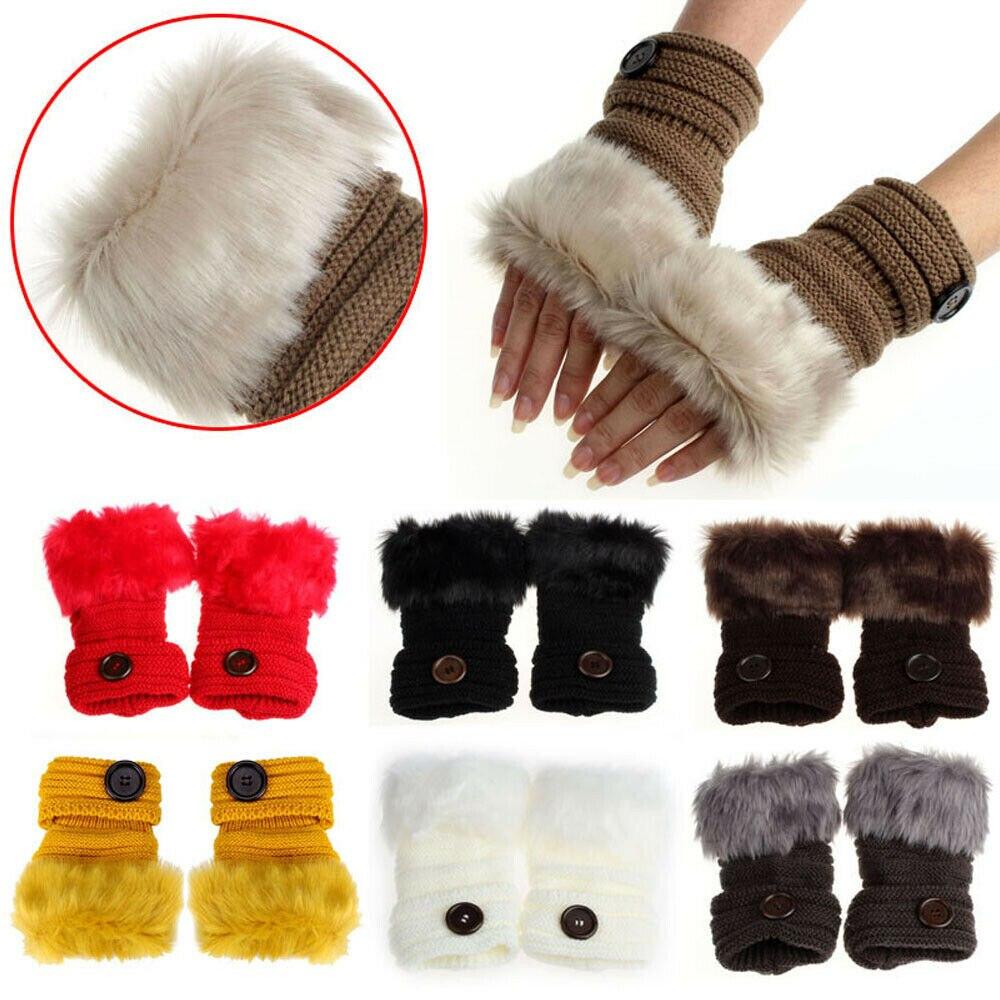 Women Lady Fingerless Knit Wool Gloves Wrist Warmer Hand Protect Winter Half Finger Faux Fur Warm Half Finger Mittens