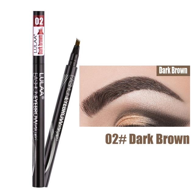 Waterproof Natural Eyebrow Pen Four-claw Eye Brow Tint Makeup three Colors Eyebrow Pencil Brown Black Grey Brush Cosmetics 4