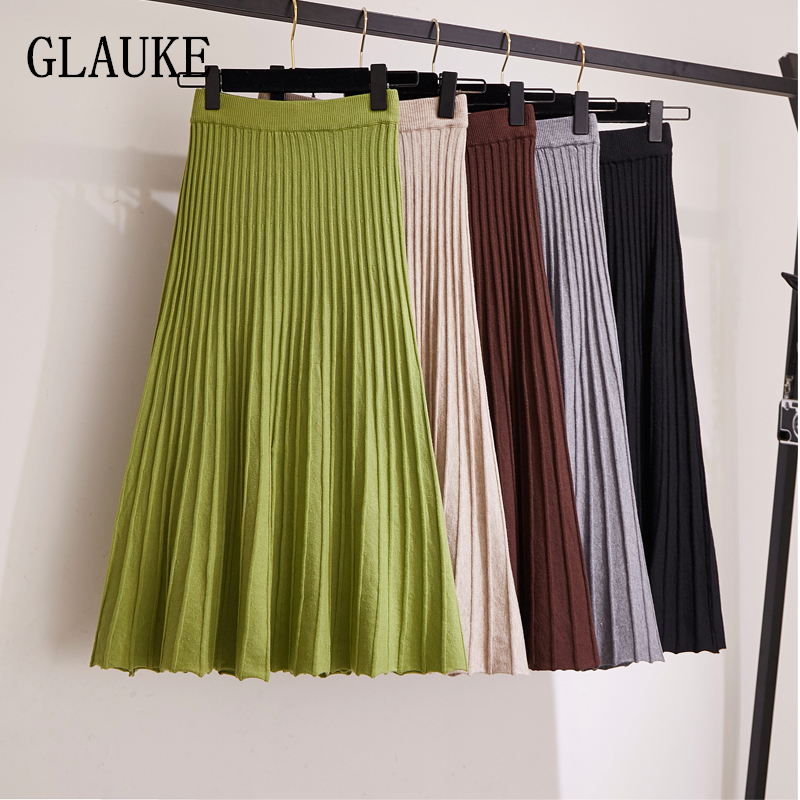 GLAUKE Long Knitted Skirt Women 2020 Vintage Autumn Winter Mid Length High Waist  Pleated Europe Fashion Female