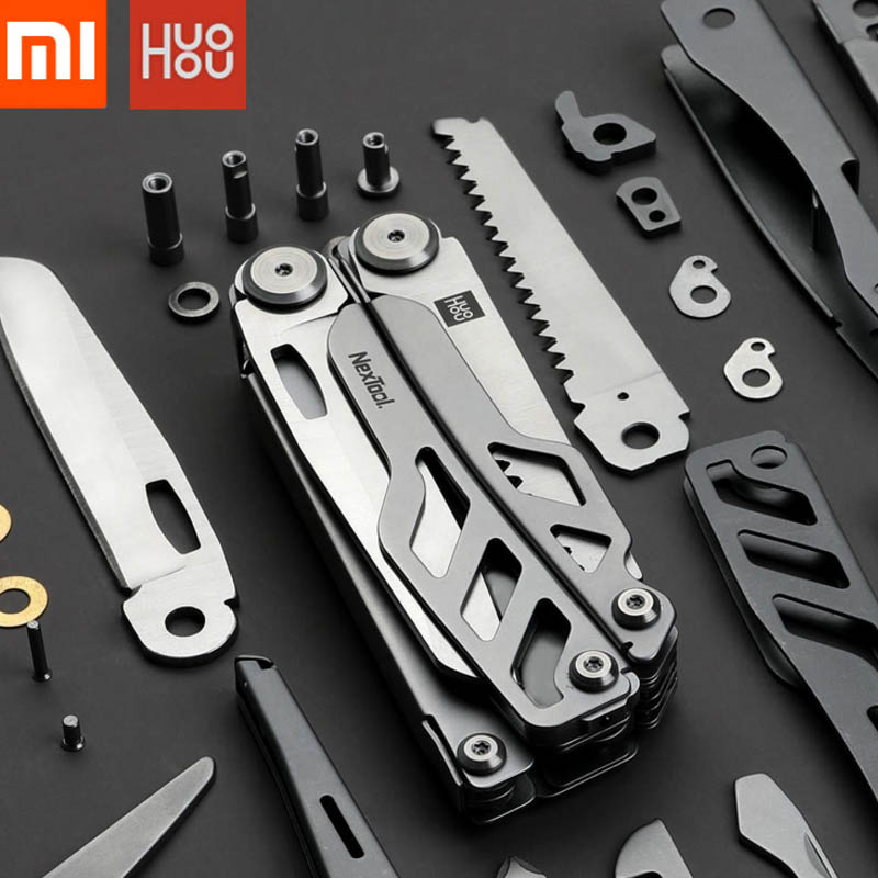Original Xiaomi Huohou Multi-function Folding Knife Bottle Opener Screwdriver Pliers Scissors Stainless Steel Knife Sharpen Tool
