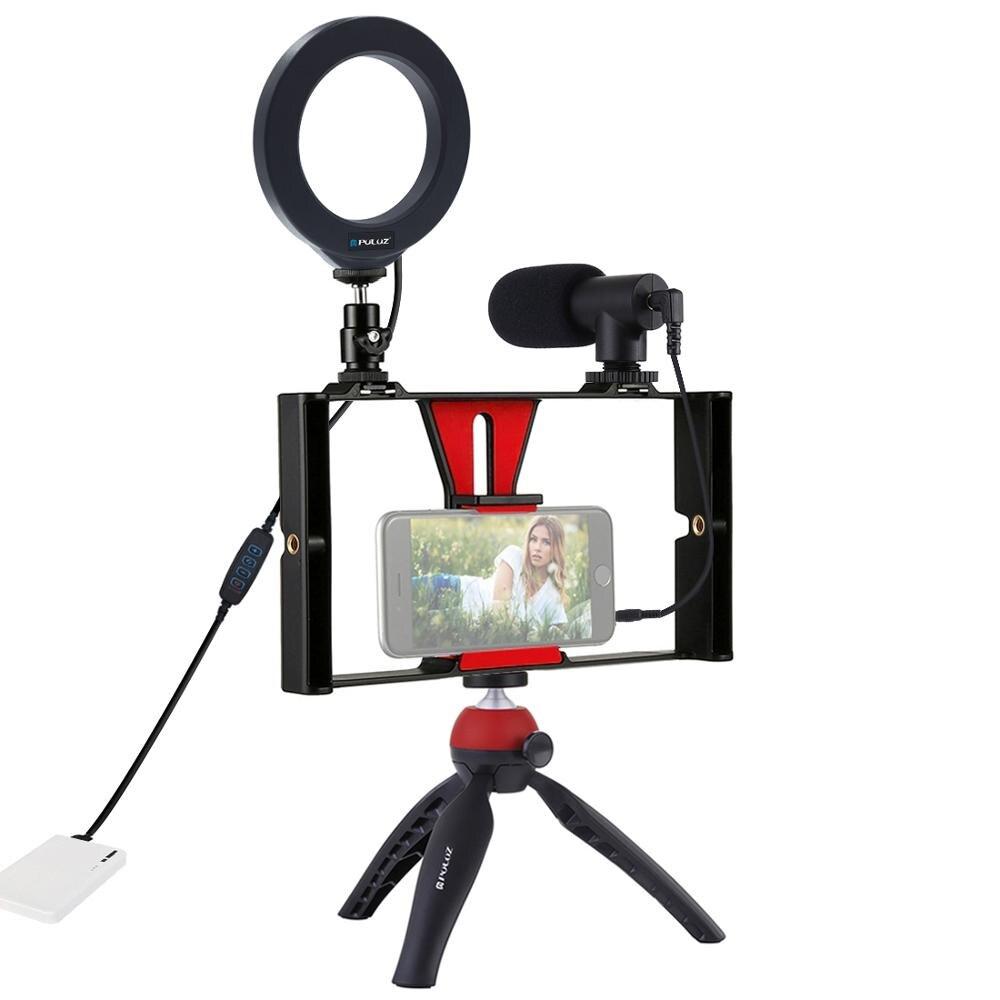 PULUZ 4 en 1 vlog diffusion en direct appareil vidéo pour Smartphone + 4.6 pouces anneau LED lumière vidéo et Microphone + montage sur trépied + tête de trépied - 2