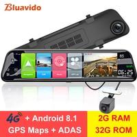 Bluavido 12 Rearview mirror Camera 4G Android 8.1 dashcam 2G RAM 32G ROM GPS Navigation car video recorder ADAS WiFi BT 4.0 DVR