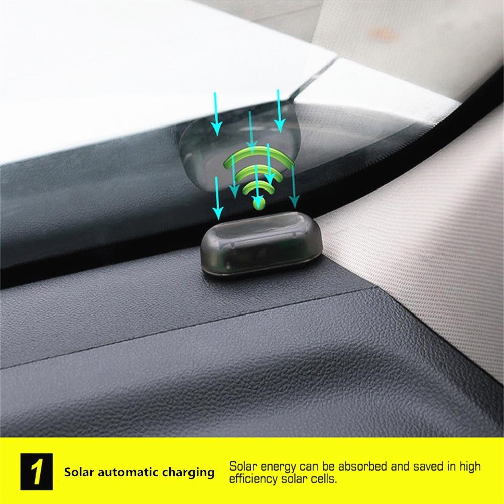 Solar USB Power Car Alarm Light Anti-Theft Warning Flash Blinking Fake Car Led Light Flash Blinking Lamp Red Blue New Update