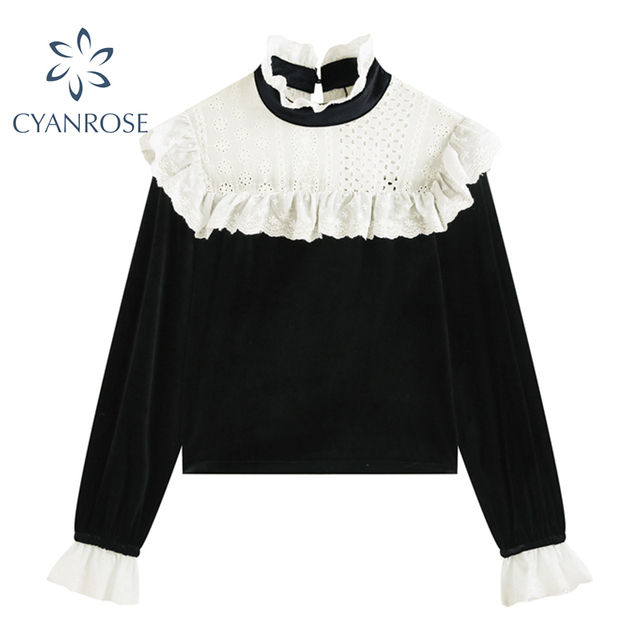 Ruched Ruffle Spliced Korean Blouses For Ladies Spring Long Sleeve Shirt Stand Collar Vintage 2021 Shirts Female Blusas Ins Tops 1