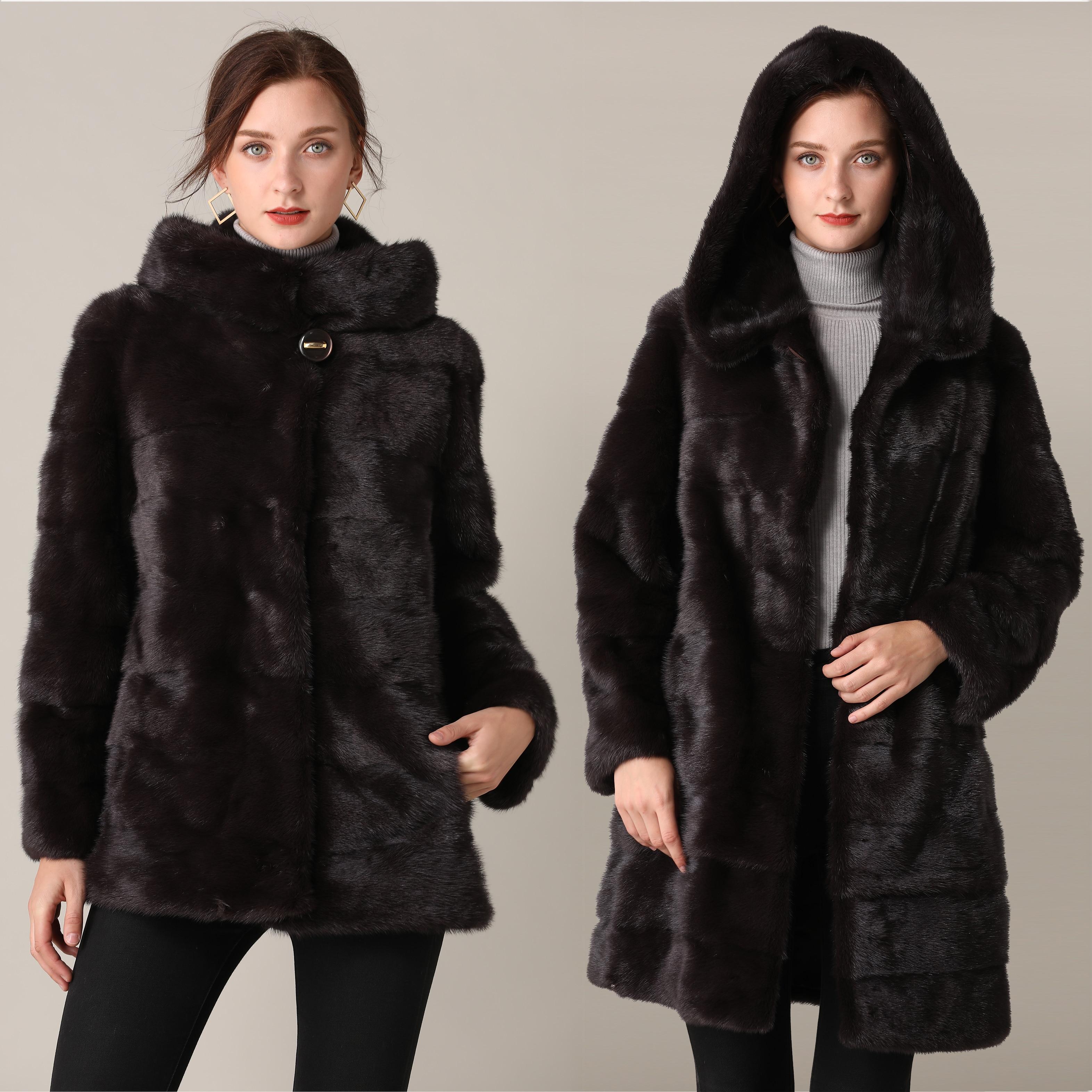 Настоящая норковая шуба, зимняя длинная шуба из натурального меха норки, черная теплая женская одежда 2019, винтажная, размера плюс