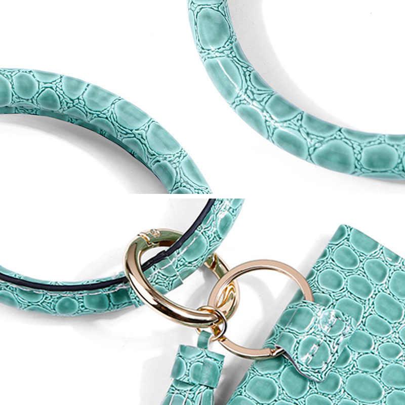 Xmessun 2020 Buaya Pola Pergelangan Tangan Gantungan Kunci Koin Dompet Fashion Wanita Ular Gelang Gelang Liontin Cincin Pegangan Perjalanan H356